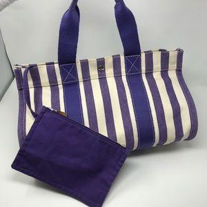 """Hermès """"Cannes"""" Tote Purple/White Stripes w/ Pouch"""